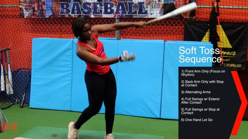 one hand let go soft toss drill