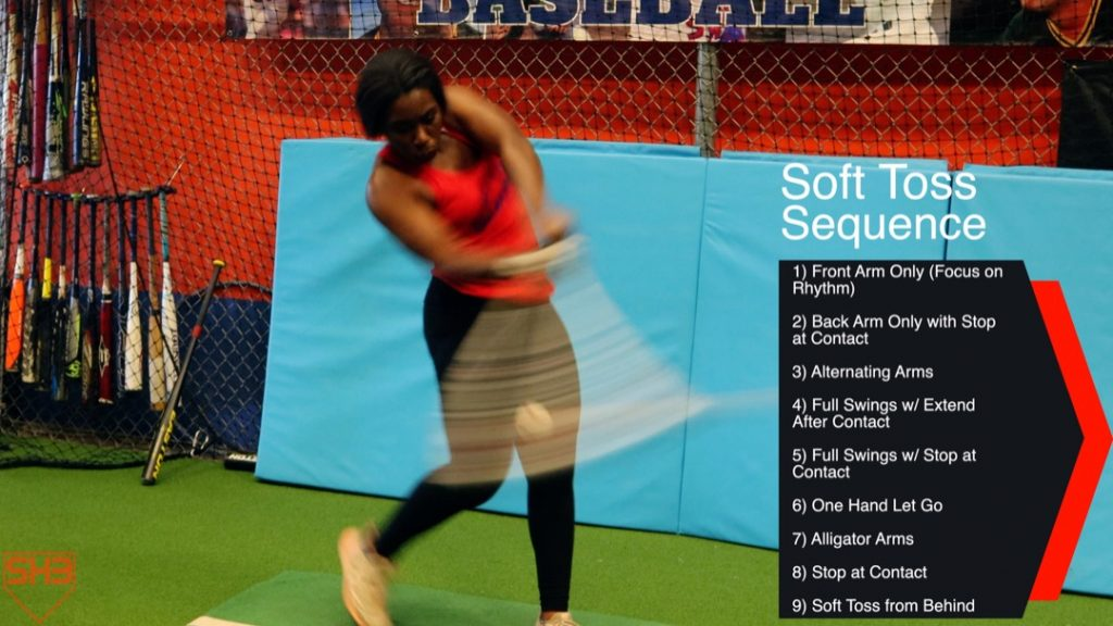 soft toss from behind hitting drill